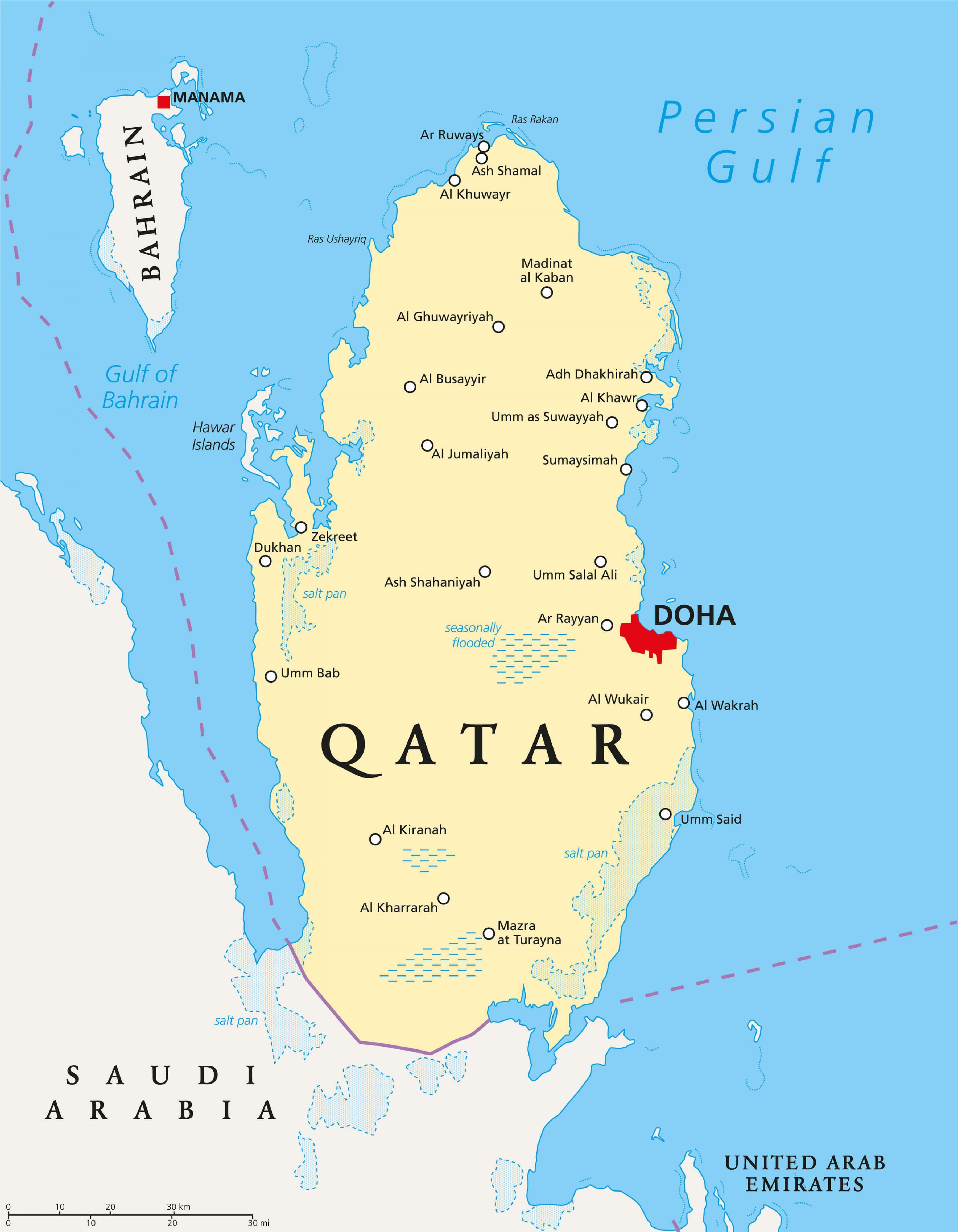 Katar Stadte Anzeigen Qatar Landkarte Mit Stadten West Asien