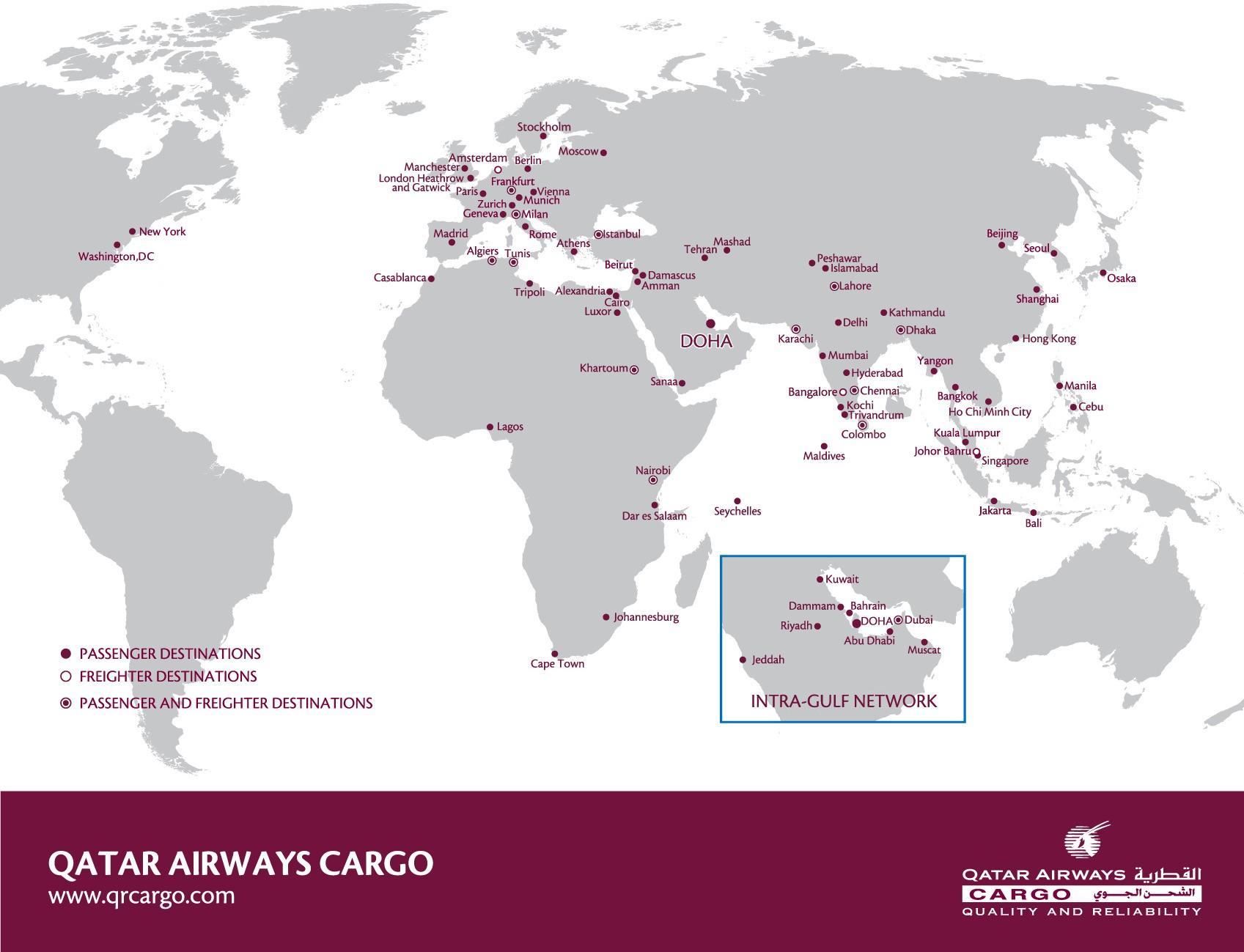 Qatar airways Destinationen anzeigen - Qatar airways-Netzwerk-Karte ...