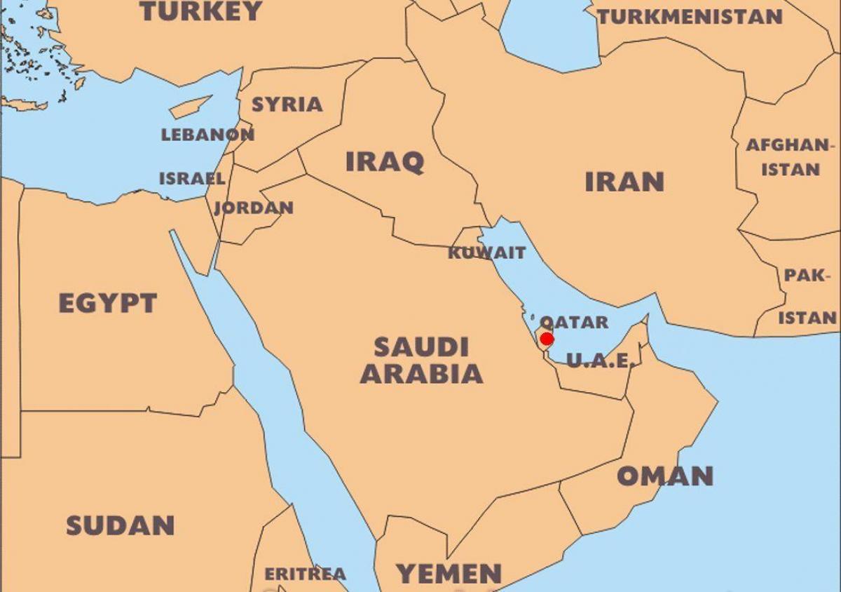 Katar Karte Welt Lage Weltkarte Katar Ort West Asien Asia