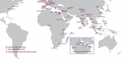 Katar-route-map-europe - Qatar airways-route-map-europe (West-Asien on
